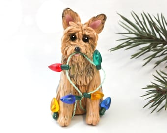 Yorkshire Terrier Yorkie Dog PORCELAIN Christmas Ornament Figurine Lights