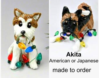 Akita Dog PORCELAIN Christmas Ornament Figurine Made to Order