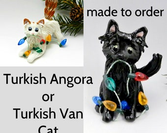 Turkish Angora or Turkish Van Cat Porcelain Christmas Ornament Figurine Made to Order