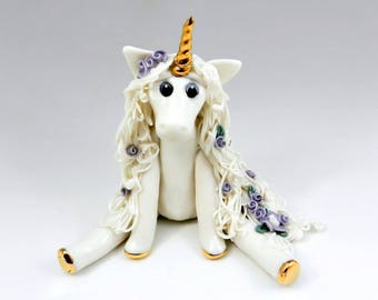 Unicorn Figurine Porcelain Clay with Purple Roses Handmade OOAK