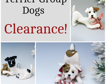 Terrier Group Dogs Christmas Ornaments Figurine Porcelain Clearance