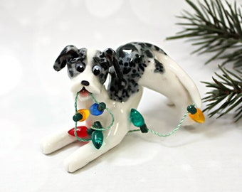Catahoula Blue Leopard Dog PORCELAIN Christmas Ornament Lights Clay