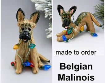 Belgian Malinois Made to Order Christmas Ornament Figurine in Porcelain