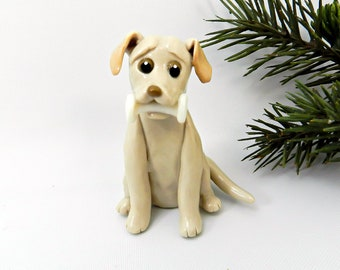 Labrador Retriever Yellow with Dumbbell Porcelain Christmas Ornament Figurine Obedience