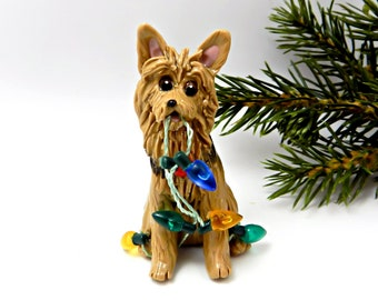 Australian Terrier PORCELAIN Christmas Ornament Figurine Lights