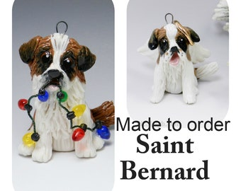 Saint Bernard Dog PORCELAIN Christmas Ornament Figurine Made to Order