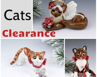 Cats Christmas Ornaments Figurine Porcelain Clearance