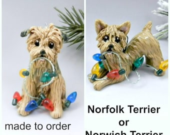 Norfolk Terrier Norwich Terrier Porcelain Christmas Ornament Figurine Made to Order