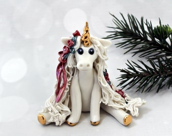 Unicorn PORCELAIN White Christmas Ornament Figurine Red Roses Wreath