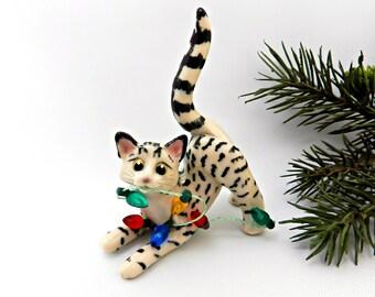 Egyptian Mau Cat Bronze PORCELAIN Christmas Ornament Figurine OOAK