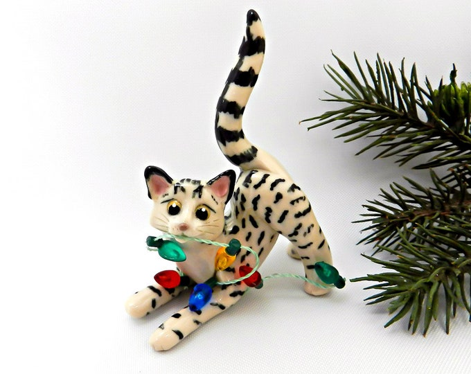 Featured listing image: Egyptian Mau Cat Bronze PORCELAIN Christmas Ornament Figurine OOAK