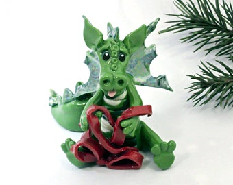 Dragon PORCELAIN Christmas Ornament Figurine Red Ribbon OOAK