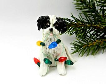 Havanese Shih Tzu Black White Porcelain Christmas Ornament Figurine Lights
