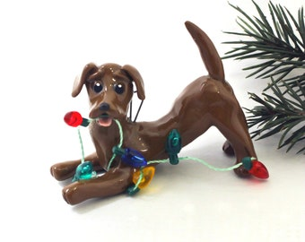 Dachshund Red Brown PORCELAIN Christmas Ornament Figurine with Lights