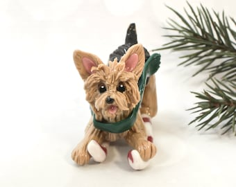 Yorkie Yorkshire Terrier Christmas Ornament Figurine Porcelain Skiing