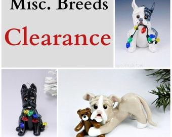 Misc. Dogs Christmas Ornament  Figurine Porcelain Clearance