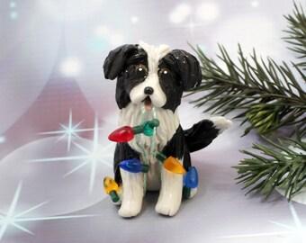 Border Collie Dog Porcelain Christmas Ornament Figurine Lights