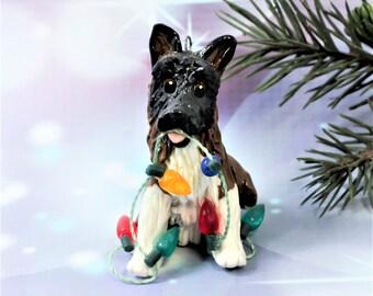 Akita Dog Christmas Ornament Figurine Lights Porcelain Clay