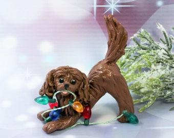 Cavalier King Charles Spaniel Ruby PORCELAIN Christmas Ornament Figurine
