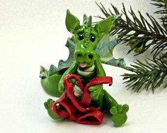 Dragon PORCELAIN Christmas Ornament Figurine Red Ribbon OOAK