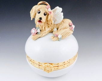 Golden Retriever Angel Memorial Trinket Box Porcelain Clearance