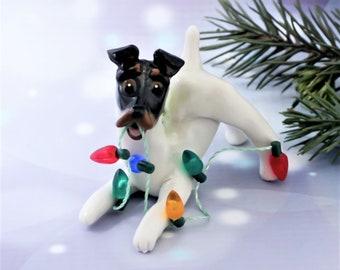 Smooth Fox Terrier Tricolor Porcelain Christmas Ornament Figurine Lights