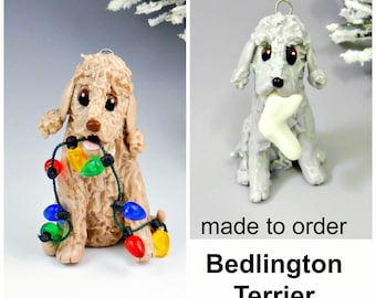 Bedlington Terrier  Made to Order Christmas Ornament Figurine in Porcelain