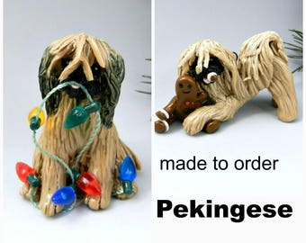 Pekingese PORCELAIN Christmas Ornament Figurine Made to Order