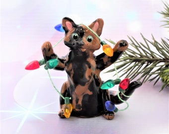 Tortoiseshell Cat PORCELAIN Christmas Ornament Figurine Lights Clay OOAK