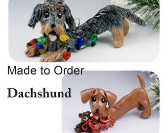 Dachshund PORCELAIN Christmas Ornament Figurine Made to Order