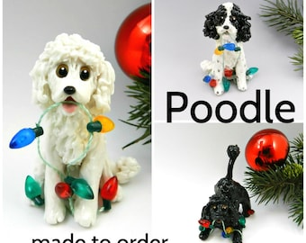 Poodle PORCELAIN Christmas Ornament Figurine Made to Order