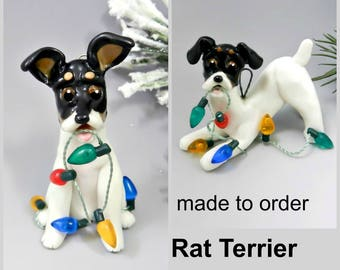Rat Terrier Porcelain Christmas Ornament Figurine Made to Order