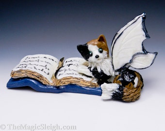 Cat Fairy Figurine Calico Porcelain Sculpture
