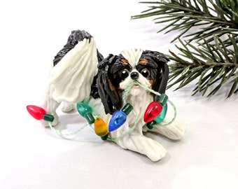 Japanese Chin Tricolor Porcelain Christmas Ornament Figurine Lights