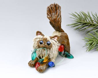 Himalayan Persian Cat Christmas Ornament Figurine OOAK Porcelain