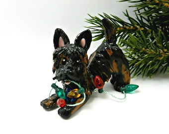 Brindle Scottish Terrier Porcelain Christmas Ornament Figurine Dog with lights