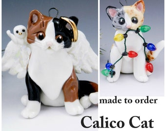 Calico Cat Christmas Ornament Figurine Made to Order in Porcelain