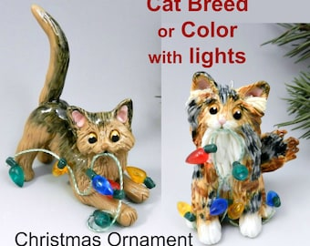 Cat Breed or Color Christmas Ornament Figurine with Lights Porcelain