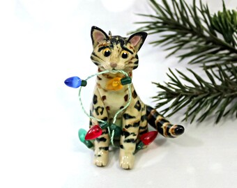 Bengal Cat PORCELAIN Christmas Ornament Figurine OOAK with Lights