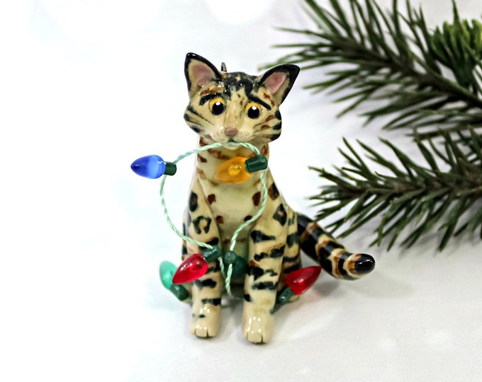 Featured listing image: Bengal Cat PORCELAIN Christmas Ornament Figurine OOAK with Lights