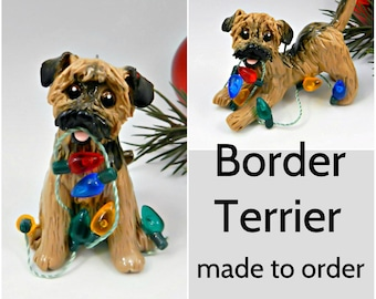 Border Terrier Dog Made to Order Christmas Ornament Figurine in Porcelain