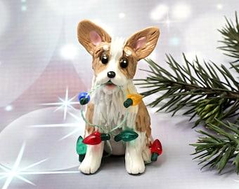 Pembroke Welsh Corgi  Christmas Ornament Figurine Lights Porcelain