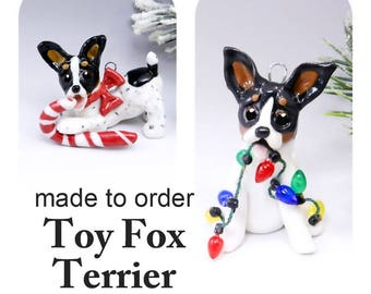 Toy Fox Terrier Porcelain Christmas Ornament Figurine Made to Order