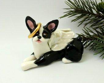 Boston Terrier Angel PORCELAIN Christmas Ornament Figurine Memorial