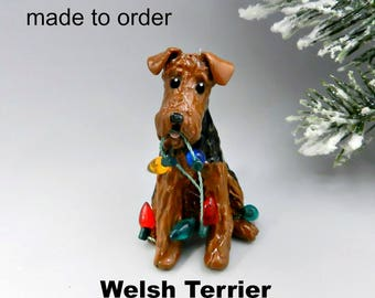 Welsh Terrier Porcelain Christmas Ornament Figurine Made to Order