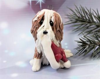 Bearded Collie Fawn Christmas Ornament Santa Hat Porcelain