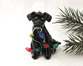 Labrador Retriever Black PORCELAIN Clay Christmas Ornament Figurine Lights
