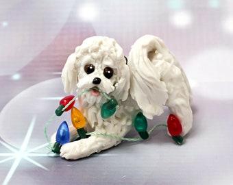 Bichon Frise Dog Porcelain Christmas Ornament Figurine with Lights