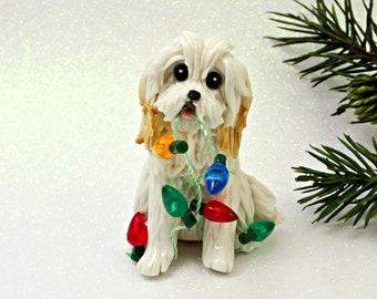 Havanese White PORCELAIN Clay Christmas Ornament Figurine Lights