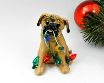 Mastiff English Bullmastiff Porcelain Christmas Ornament Figurine with Lights OOAK